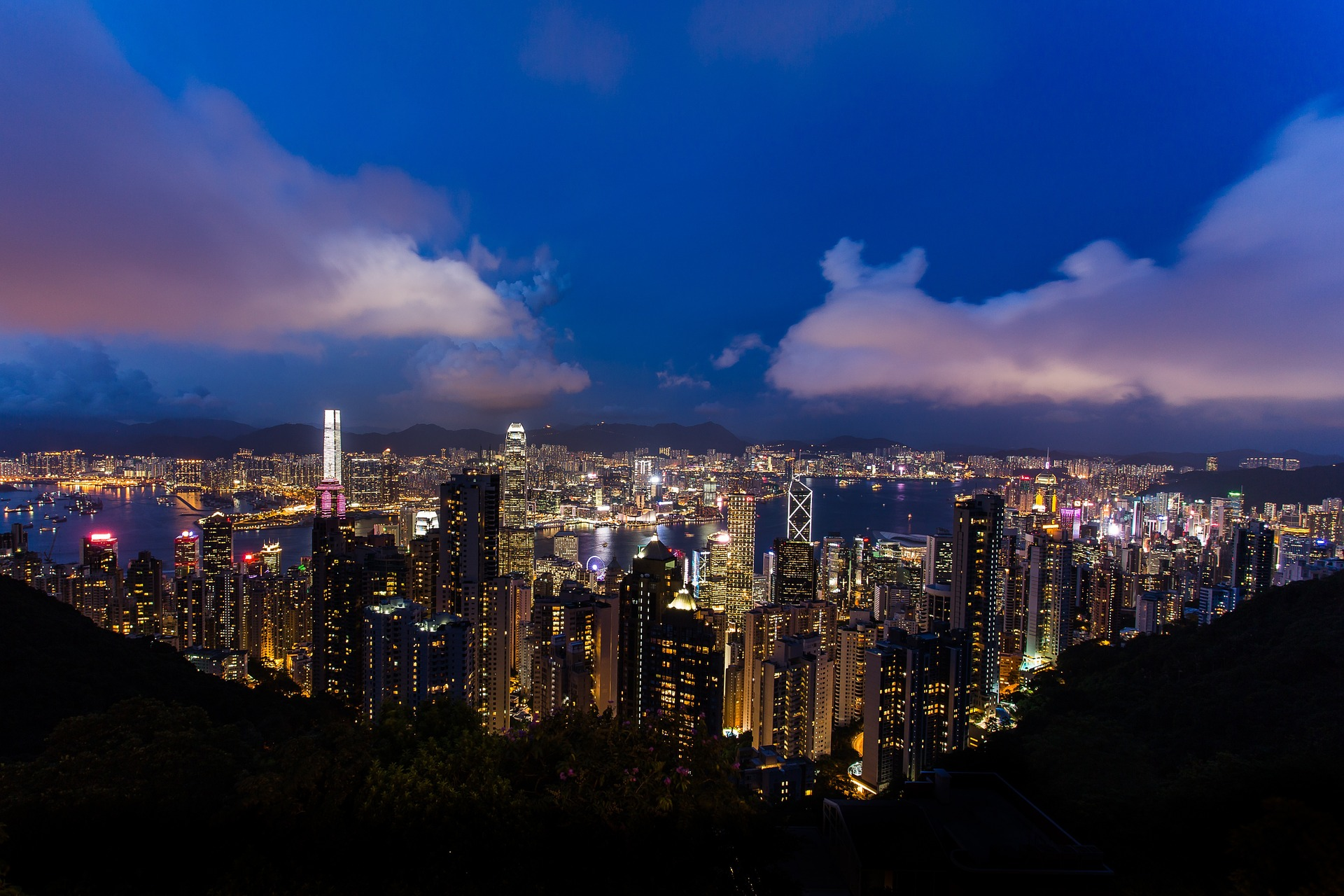 Hong Kong Lion Mountain Night View